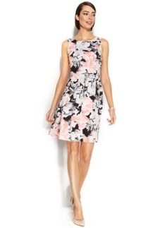 Alfani Fit & Flare Rose-Print Scuba Dress