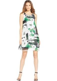 Alfani Floral-Print A-Line Chiffon Dress