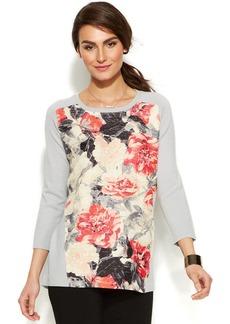 Alfani Floral-Print-Panel Sweatshirt