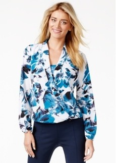 Alfani Floral-Print Surplice Top, Only at Macy's