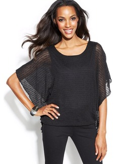 Alfani Petite Flutter-Sleeve Sheer Knit Top