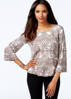 Alfani Fringe-Sleeve Bubble-Hem Printed Top, Only at Macy's
