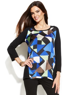 Alfani Geo-Print-Panel Sweater