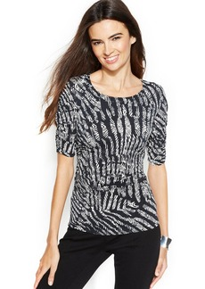 Alfani Petite Graphic-Print Ruched Top