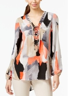 Alfani Grommet-Laced Peasant Blouse, Only at Macy's