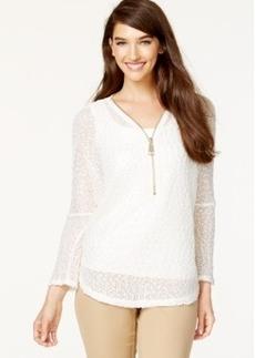 Alfani Half-Zip Open-Knit Metallic Sweater, Only at Macy's
