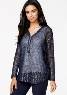 Alfani Half-Zip Open-Knit Metallic Sweater, Only at Macy's