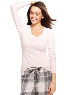 Alfani Pink Henley Long Sleeve Top