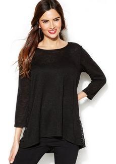 Alfani High-Low Mesh-Trim Sweater