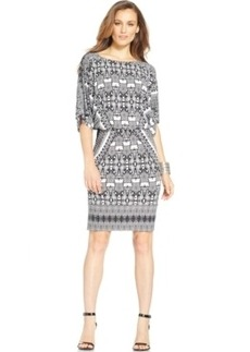 Alfani Ikat-Print Blouson Dress