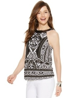 Alfani Ikat-Print Sequined Halter Top