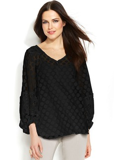 Alfani Illusion Dot-Print Lace Peasant Top