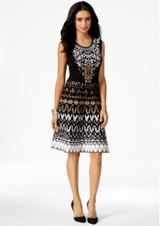 Alfani Petite Jacquard Printed Fit-And-Flare Dress
