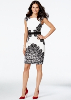 Alfani Lace-Print Cap-Sleeve Sheath Dress, Only at Macy's