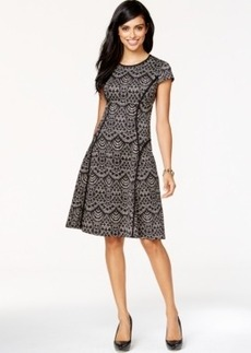 Alfani Lace-Print Scuba Flare Dress, Only at Macy's