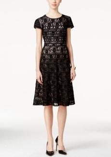 Alfani Prima Lace-Stripe Fit & Flare Dress, Only at Macy's