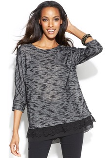 Alfani Lace-Trim Layered-Look Sweater