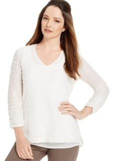 Alfani Layered-Look Textured Sweater, Only at Macy's