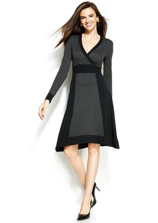 Alfani Long-Sleeve Colorblocked Sweater Dress