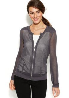 Alfani Long-Sleeve Mesh Zip-Front Cardigan