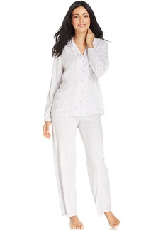 Alfani Notch Collar Top and Pajama Pants Set