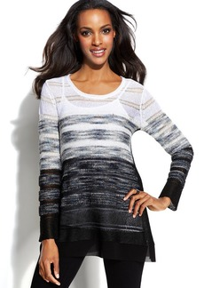Alfani Ombre-Stripe Chiffon-Trim Sweater