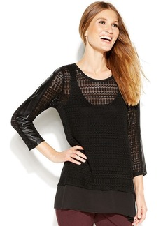 Alfani Open-Knit Mixed-Media Sweater