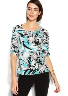 Alfani Petite Abstract-Print Ruched Top