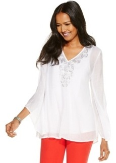 Alfani Angel-Sleeve Embroidered Top