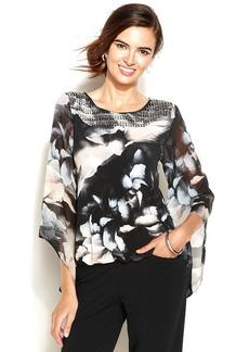 Alfani Petite Angel-Sleeve Floral-Print Blouson Top