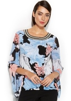 Alfani Angel-Sleeve Floral-Print Blouson Top
