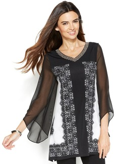 Alfani Petite Angel-Sleeve Lace-Print Tunic