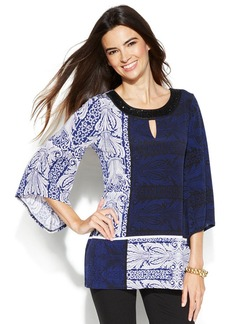 Alfani Petite Angel-Sleeve Paisley Colorblock Tunic