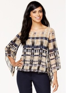 Alfani Angel-Sleeve Printed Blouson Top, Only at Macy's