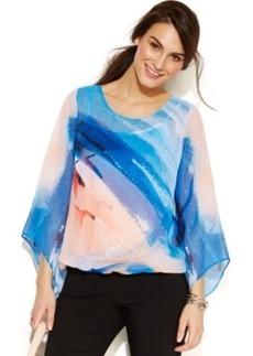 Alfani Petite Angel-Sleeve Printed Blouson Top