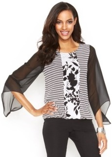 Alfani Angel-Sleeve Printed Blouson Top
