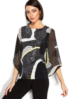 Alfani Petite Angel Sleeve Printed Tunic