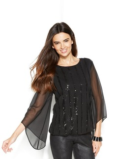 Alfani Petite Angel-Sleeve Sequin-Stripe Top