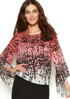 Alfani Petite Angel Sleeve Sheer-Print Top