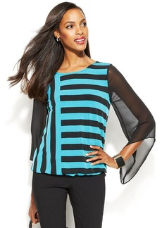 Alfani Petite Angel-Sleeve Striped Blouson Top