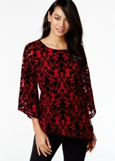 Alfani Petite Asymmetrical Flocked Top, Only at Macy's