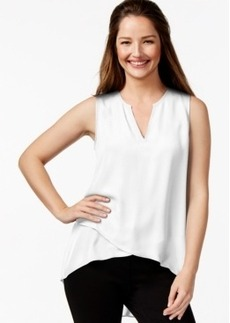 Alfani Petite Asymmetrical-Hem Surplice Top, Only at Macy's