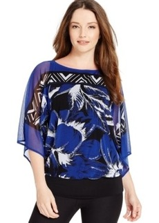 Alfani Sequined Feather-Print Chiffon Top, Only at Macy's