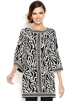 Alfani Bead-Trim Printed Tunic