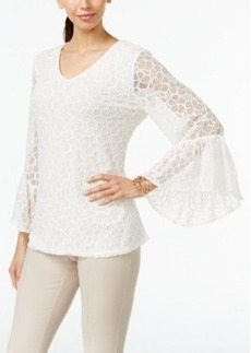 Alfani Petite Bell-Sleeve Lace Top, Only at Macy's