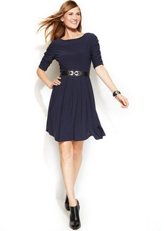 Alfani Petite Belted A-Line Dress