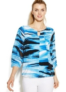Alfani Petite Bishop-Sleeve Printed Bubble Top