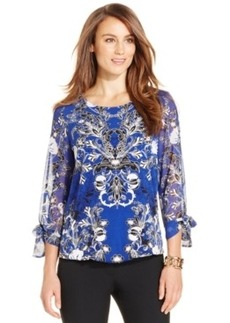 Alfani Petite Bubble-Hem Tie-Sleeve Top, Only at Macy's