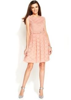 Alfani Petite Cap-Sleeve Lace Belted Dress