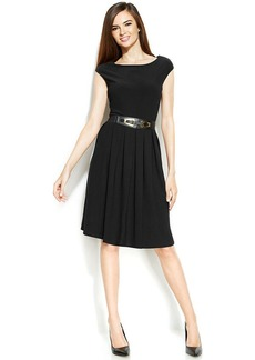 Alfani Petite Cap-Sleeve Pleated Belted Dress